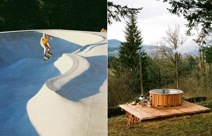 Скейт-пул и гидромассажная ванна посреди леса.