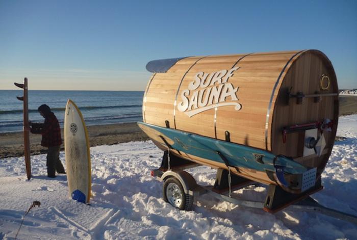 Передвижная сауна для серферов.
