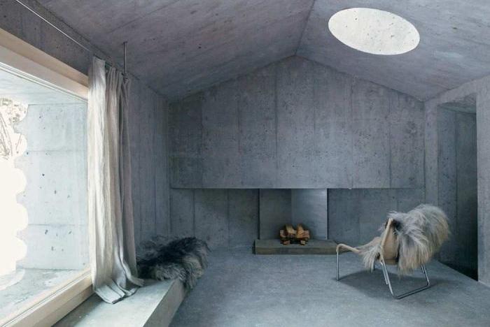 Concrete Cabin. Гостиная.