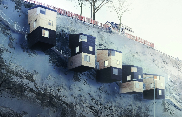 Nestinbox - дома, построенные прямо на скалах.