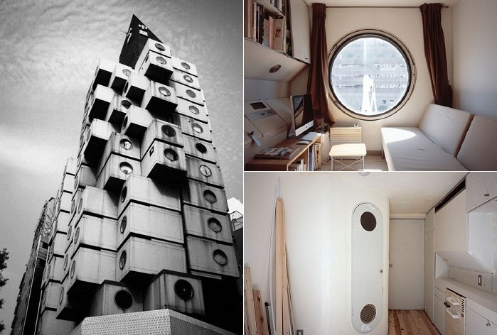 Nakagin Capsule Tower - капсульная башня в Токио.