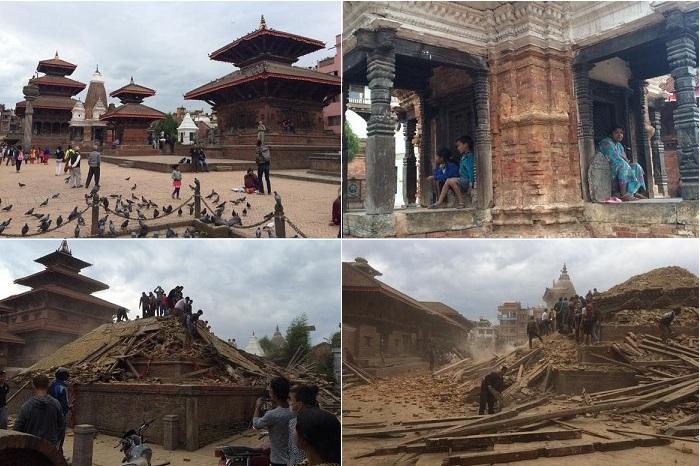 Архитектурный памятник Непала, разрушенный землетрясением.