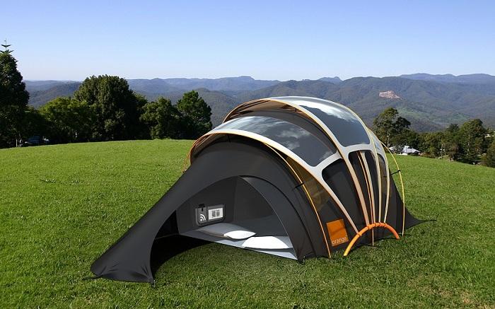 Orange Solar Tent - инновационная палатка с встроенной зарядкой для мобильных устройств.