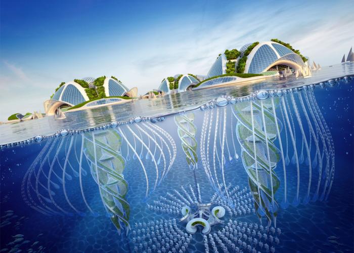 Футуристический проект города бельгийского архитектора Vincent Callebaut.
