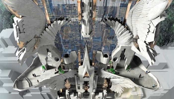 Концепт башни с горгульями архитектора Marc Foster Gage.
