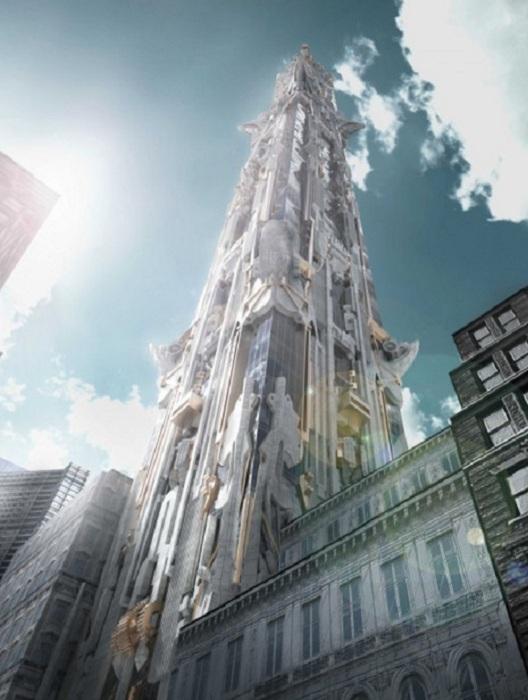 Концепт башни со скульптурным фасадом.