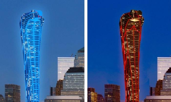 Разнообразная подсветка башни, напоминающая кожу змеи.