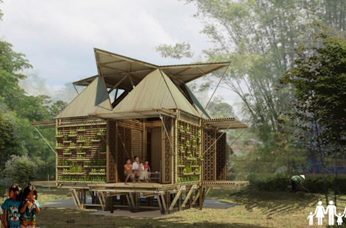 Бамбуковый дом-амфибия.