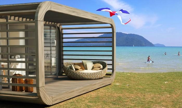 Coodo - модульный дом, который можно поставить на пляже.