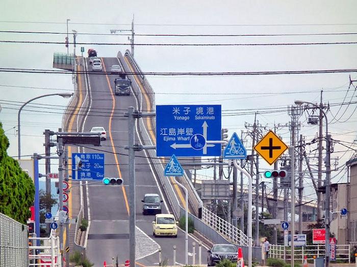 Eshima Ohashu - мост с крутым спуском.