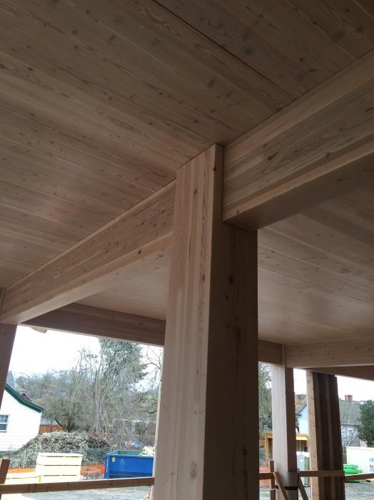 Деревянные балки и панели – все элементы конструкции дома Carbon12 сделаны из возобновляемых материалов.