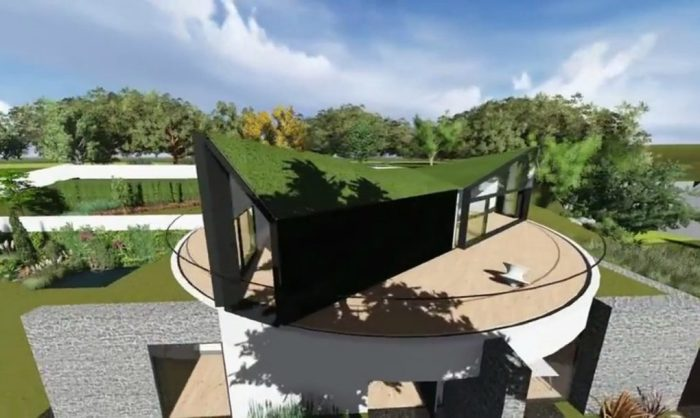 Оригинальный концепт дома с вращающейся крышей.