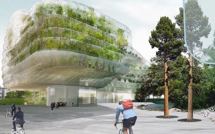 Drivhus - проект здания с фасадом-теплицей.