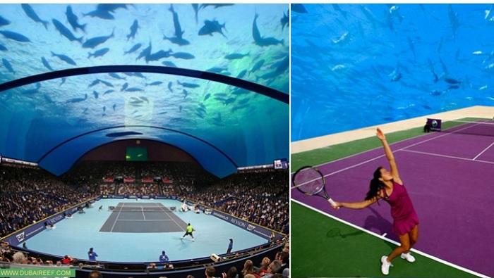 Концепт строительства теннисного корта под стеклянным куполом.