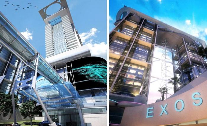 Exosphere - футуристический жилой комплекс с ветровыми турбинами.