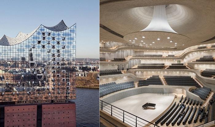 Elbphilharmonie - великолепная филармония на берегу Эльбы в Гамбурге (Германия).