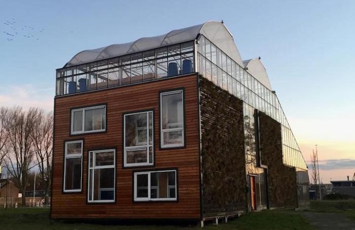 Гигантская теплица с жилым домом внутри.