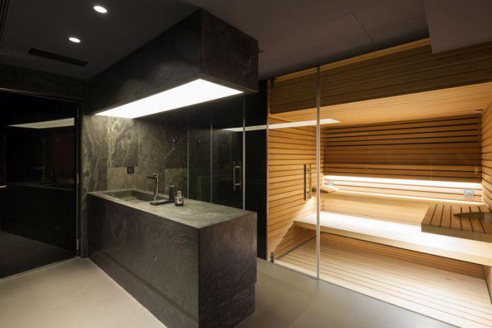 House Н. Ванная комната с сауной.