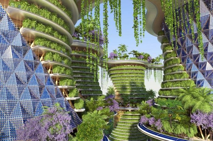 Hyperions - башни с жилыми апартаментами и фермерскими хозяйствами.