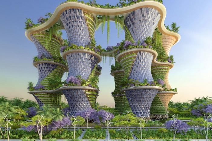 Hyperions - футуристический концепт эко-района в Нью-Дели (Индия).