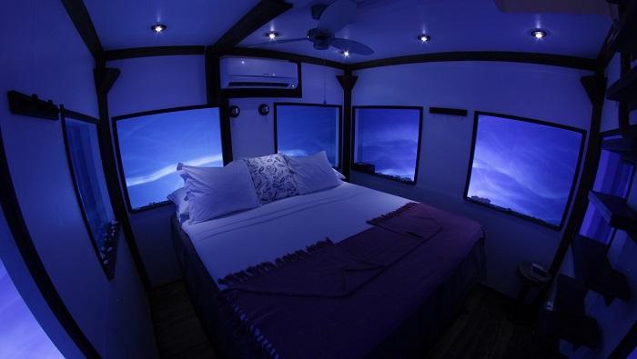 Ночью вид из окон подводной комнаты еще живописнее.