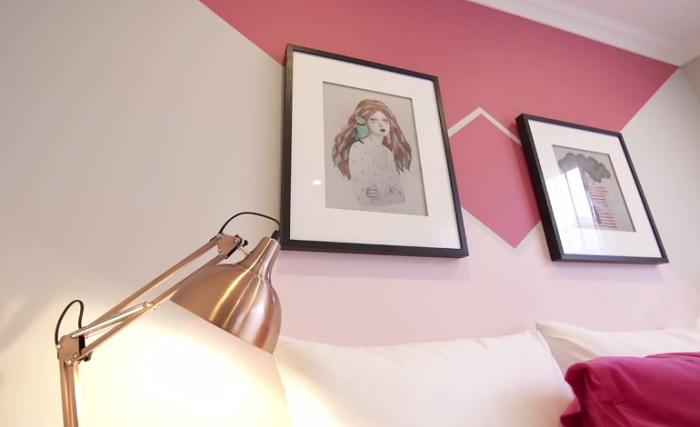 Еще один оригинальный пример использования скотча и краски в декорировании стены.