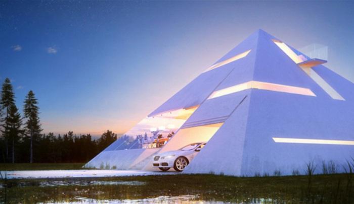 Дом пирамидальной формы.