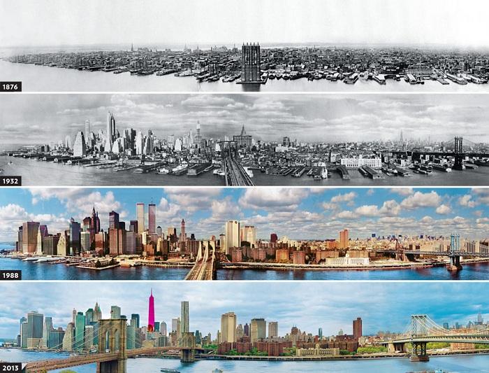 Как изменился Нью-Йорк за 140 лет.
