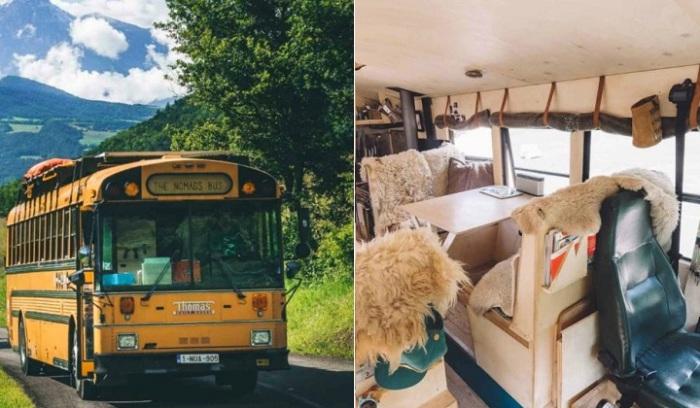 The Nomads Bus - мобильный дом, переделанный из старого школьного автобуса.