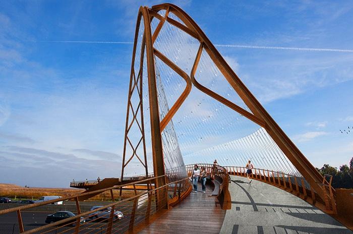 «Confluence» - проект моста для пешеходов и велосипедистов.