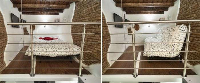 Диван в гостиной превращается в спальную комнату. | Фото: treehugger.com.