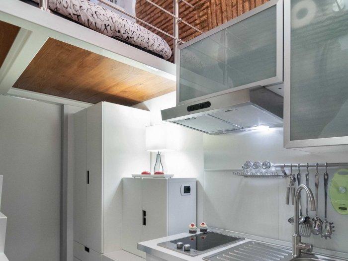 Большая часть квартиры отведена под кухню. | Фото: treehugger.com.