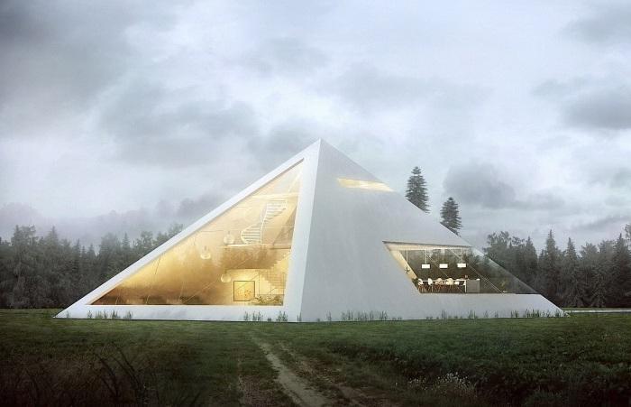 Концепт дома-пирамиды от архитектора Juan Carlos Ramos.