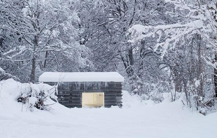 Альпийский домик с бетонным «срубом».