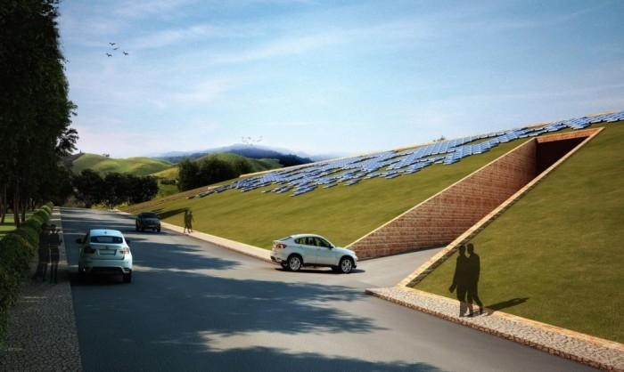 Склон с солнечными батареями.