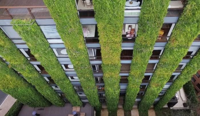 Здание с фасадом из зеленых растений, разработанное тандемом Paisajismo Urbano и Groncol.