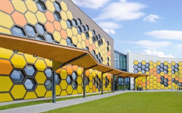 Профессиональный учебный центр с фасадом в виде пчелиных сот.