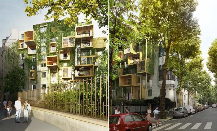 Проект жилых модулей, пристроенных к зданию 1970-х годов.