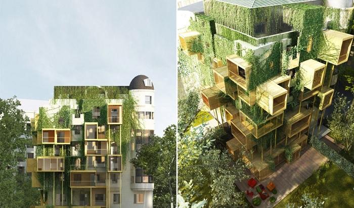 «Паразитирующие» жилые модули на здании в Париже.