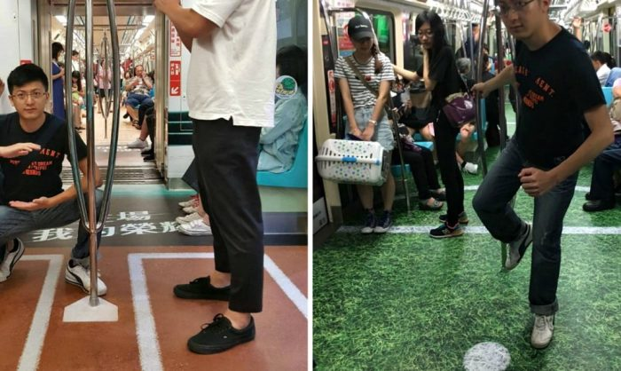 Оригинальные напольные покрытия в вагонах метрополитена Тайбэя.