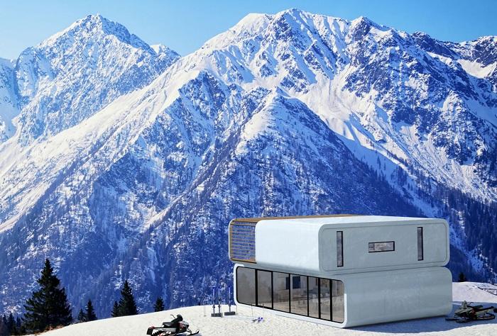 Coodo - модульный дом, который можно поставить на в горах.