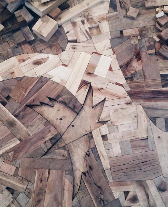 На создание деревянного пола ушло почти полгода.