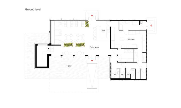 Unit Cafe. План первого этажа.