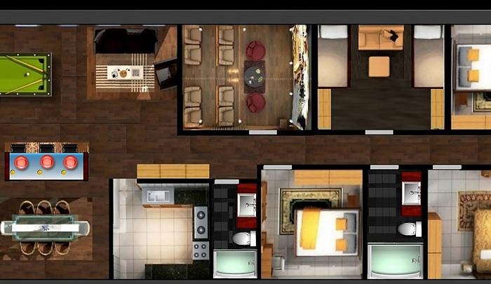 План расположения комнат в бункере.