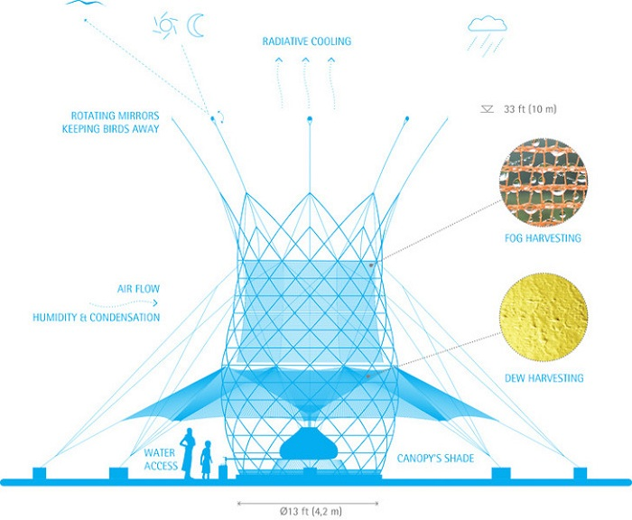 Water Warka. Схема устройства конструкции по сбору воды.