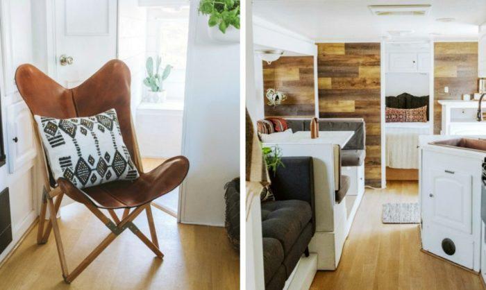 Обилие дерева оживляет дом и делает его более уютным.