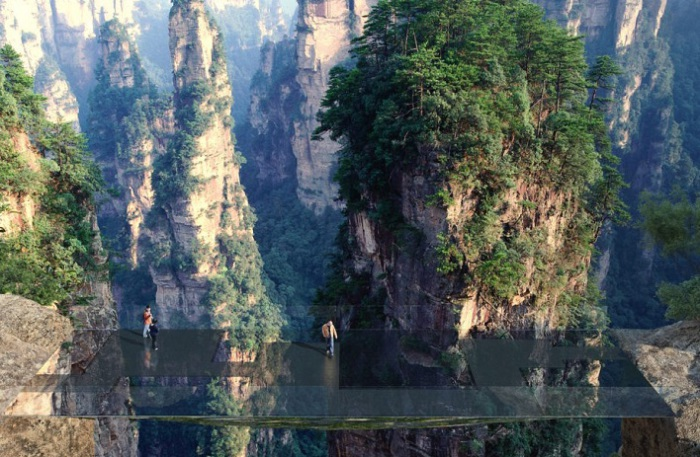 Проект стеклянного моста в китайской провинции Хунань.