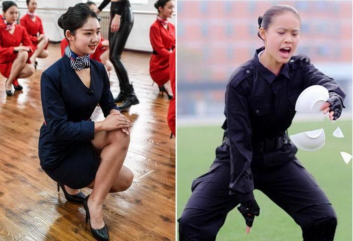 Подготовка стюардесс в Китае.