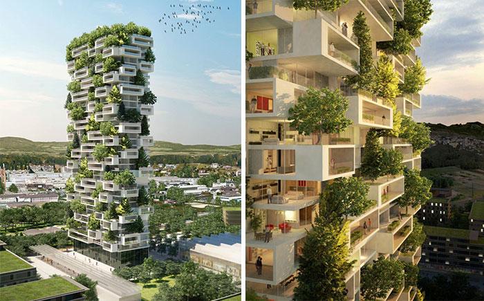 La Tour des Cedres - концепт жилой башни с зелеными насаждениями.