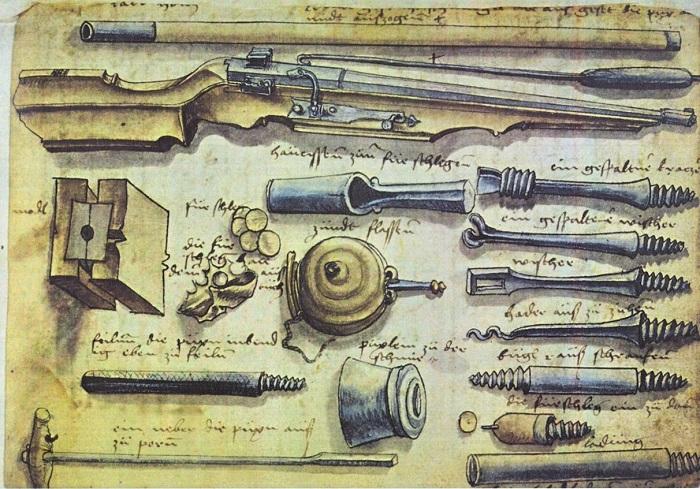 Фитильная аркебуза с принадлежностями для заряжания, чистки, экстракции зарядов и отливки пуль, рисунок из воинского наставления XVI века.